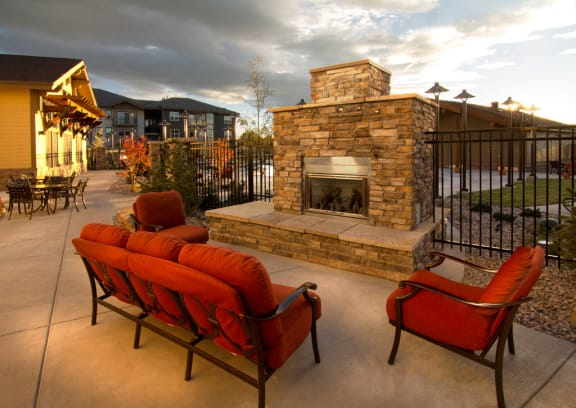 Courtyard With Fireplace at The Trails at Timberline, Fort Collins, 80525