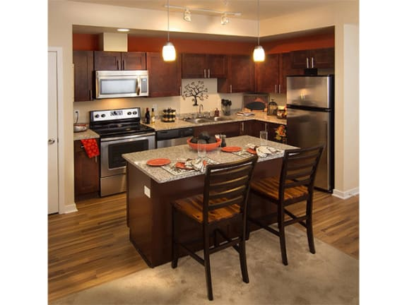 Kitchen Designed With Island at The Trails at Timberline, Fort Collins, Colorado