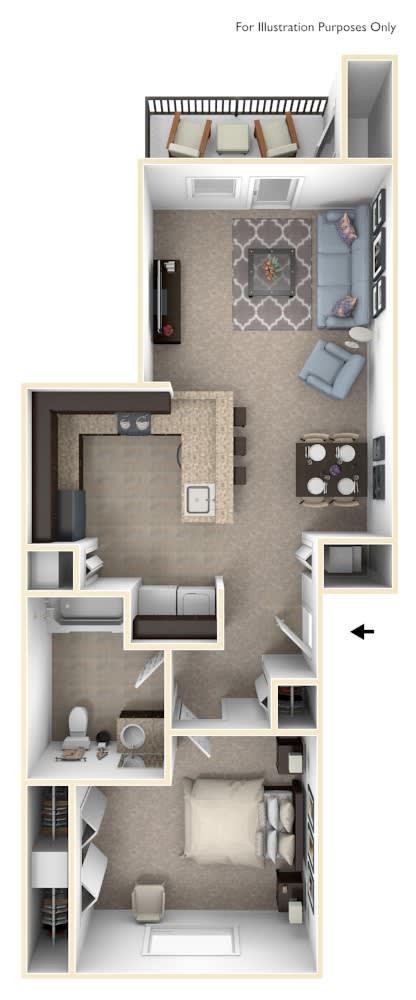 One Bedroom One Bath Floor Plan at Andover Pointe Apartment Homes, La Vista