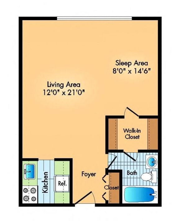 studio floor plan at Cole Spring Plaza apartments in downtown Silver Spring MD