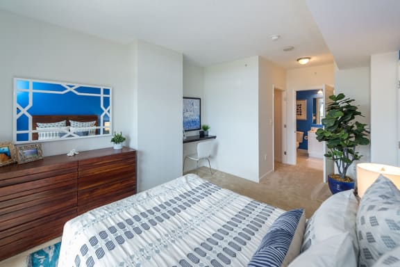 Master Bedroom With Television Space, at Wentworth House,North Bethesda, MD
