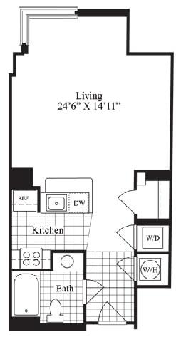 Studio floorplan for The Astor, at Wentworth House,North Bethesda