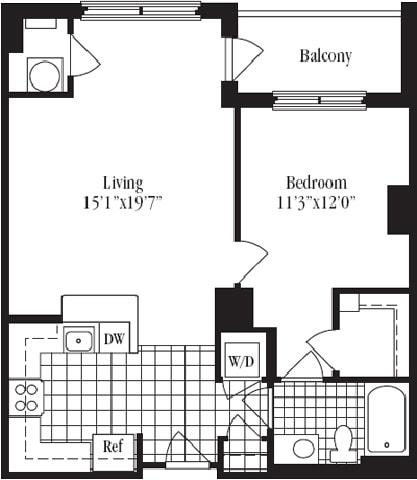 1 Bed 1 Bath floorplan The Belvedere, at Wentworth House,North Bethesda, 20852