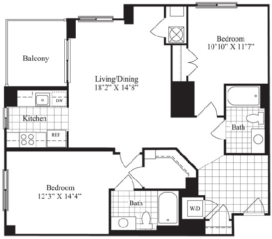 2 bed 2 bath floorplan for The Douglas, at Wentworth House,North Bethesda, 20852