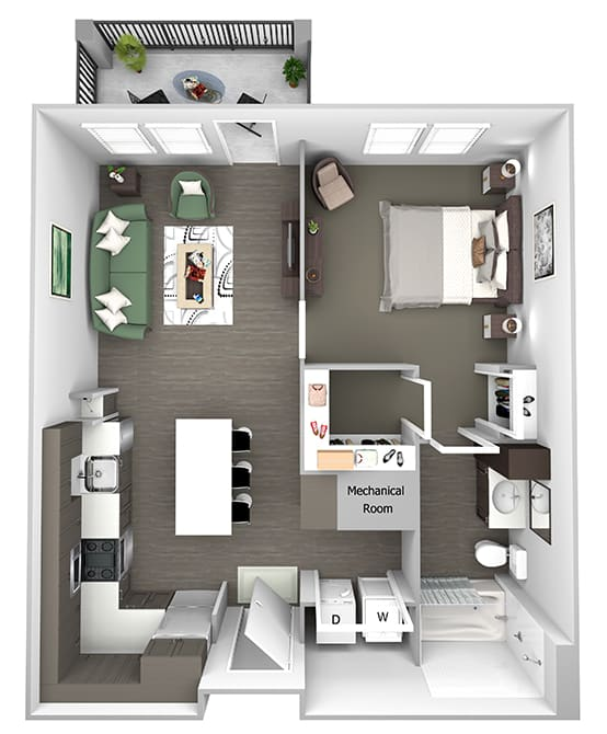 Nona Park Village - A2 - Camellia - 1 bedroom - 1 bath - 3D Floor Plan