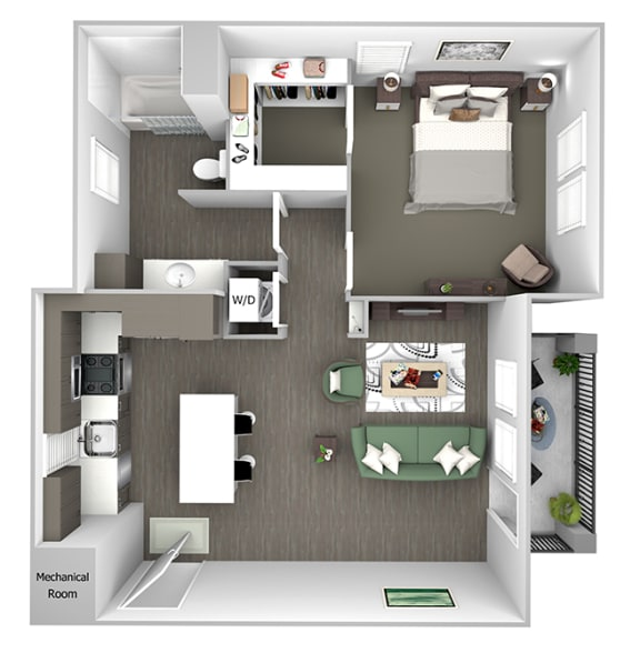 Nona Park Village - A3 - Hibiscus - 1 bedroom - 1 bath - 3D Floor Plan