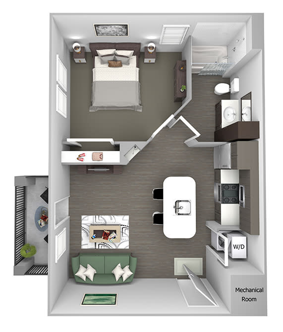 Nona Park Village - A - Anise - 1 bedroom - 1 bath - 3D Floor Plans