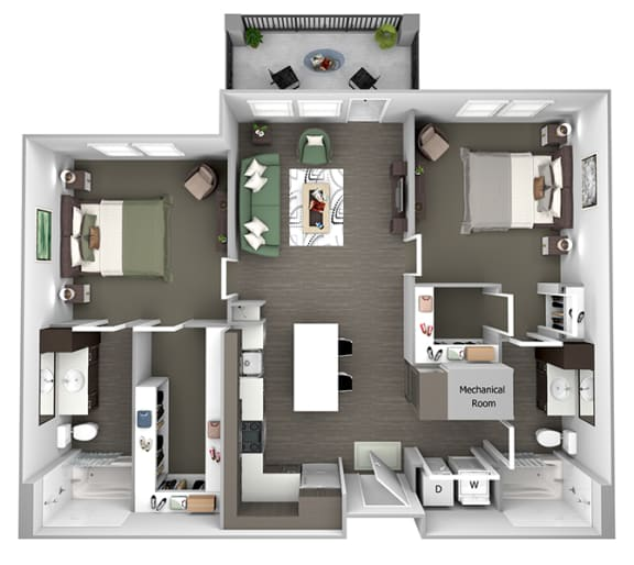 Nona Park Village - B1 (Iris) - 2 bedroom - 2 bath - 3D Floor Plan
