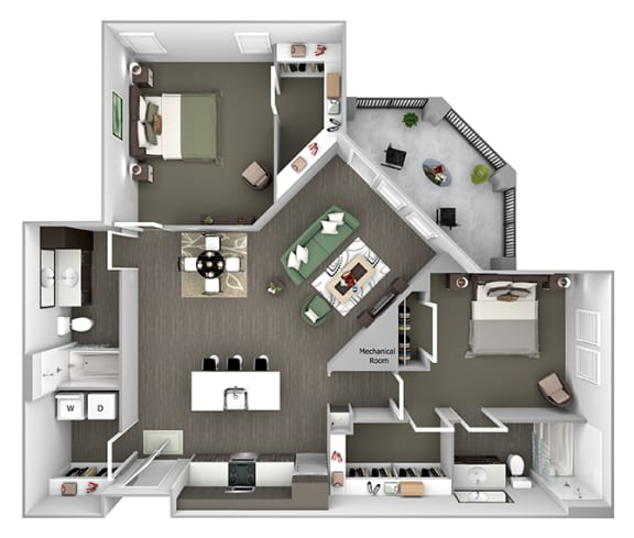 Nona Park Village - B3 (Orchid) - 2 bedroom - 2 bath - 3D Floor Plan