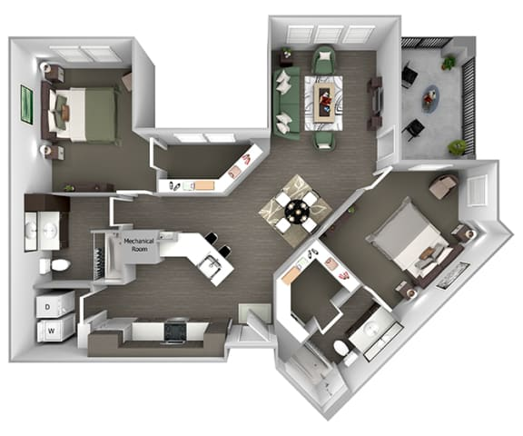 Nona Park Village - B4 (Plumeria) - 2 bedroom - 2 bath - 3D Floor Plan