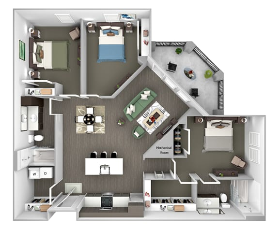 Nona Park Village - C1 (Saw Grass) - 3 bedroom - 2 bath - 3D Floor Plans