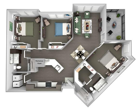 Nona Park Village - C2 (Water Lily) - 3 bedroom - 2 bath - 3D Floor Plan