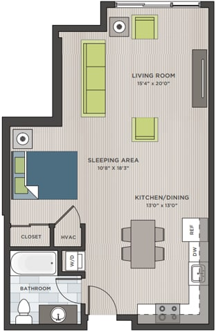 Floor Plan  Studio two-dimensional floor plan layout. Bathroom to the left of the entry door and kitchen is to the right. Living area is behind.