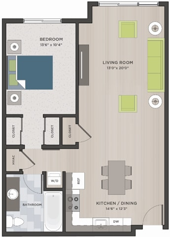 One bedroom, one bathroom two-dimensional floor plan layout. Kitchen is to the right of the entry door.
