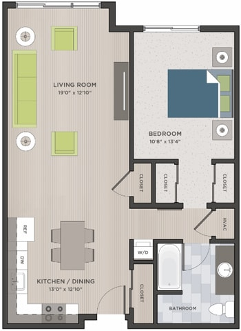 Floor Plan  One bedroom, one bath two dimensional floor plan layout. Kitchen and living to the left. Bathroom and bedroom to the right.