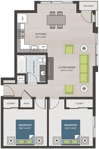 Floor Plan  Two bedroom, one bathroom two-dimensional floor plan layout with balcony. Bedrooms are to the right of the floor plan.
