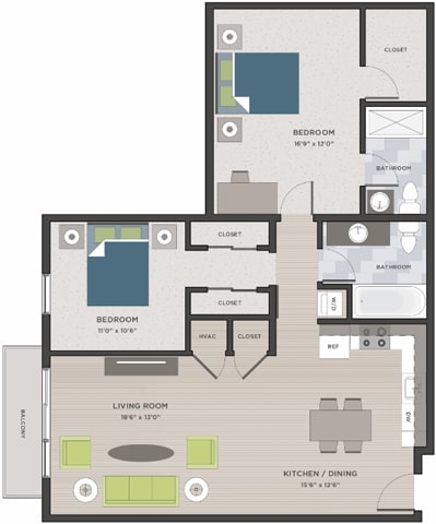 Floor Plan  Two bedroom, two bathroom two-dimensional floor plan layout. Bedrooms in the back with living area and kitchen in front.