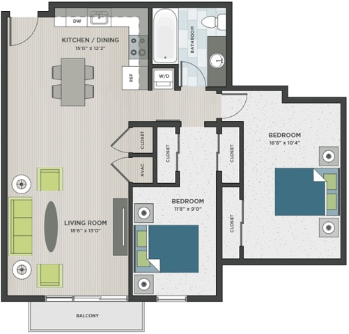 Floor Plan  Two bedroom, one bathroom two-dimensional floor plan layout. Bedrooms are to the right of the layout, kitchen and living is to the left.
