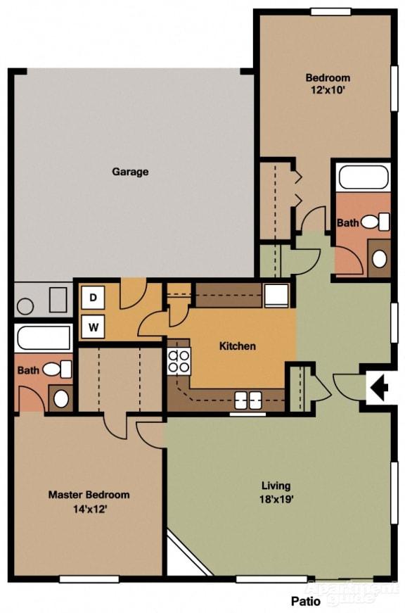 2 Bed, 2 Bath Floor Plan at Shenandoah Properties, Lafayette, IN, 47905