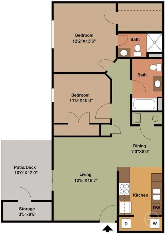 2 Bed, 2 Bath Floor Plan at Shenandoah Properties, Indiana, 47905