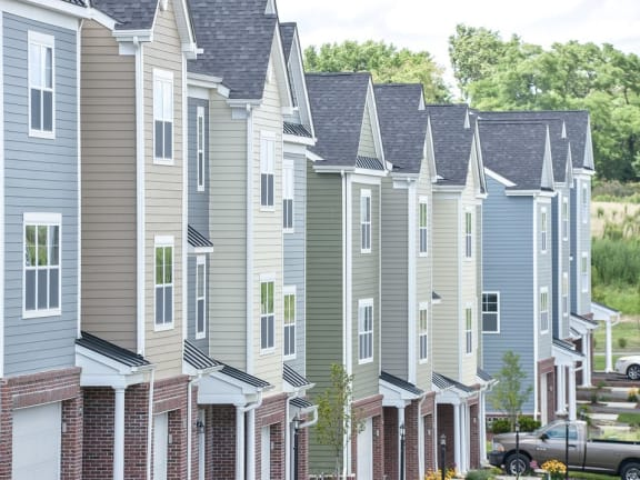 exterior of Highland Village townhomes in Pittsburgh, PA