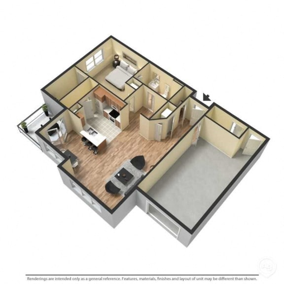 1 Bed, 1 Bath, 843 Square Feet with Garage, 3D Floor Plan
