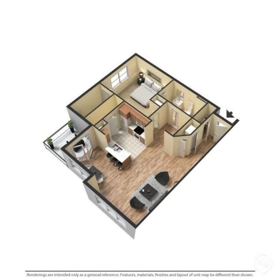 1 Bed, 1 Bath, 843 Square Feet 3D Floor Plan