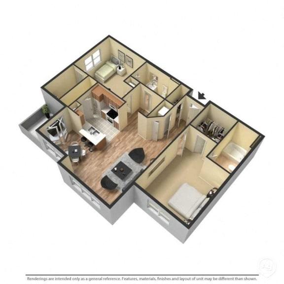 2 Bed, 2 Bath, 1,178 Square Feet 3D Floor Plan