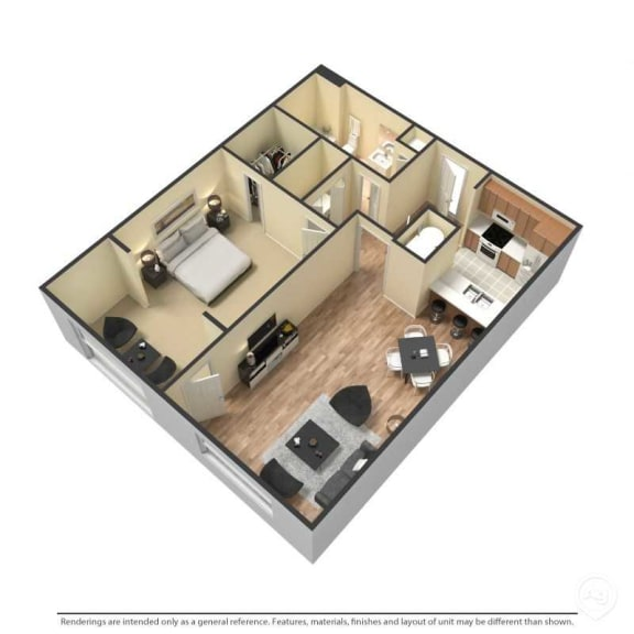 1 Bed, 1 Bath, 823 Square Feet 3D Floor Plan