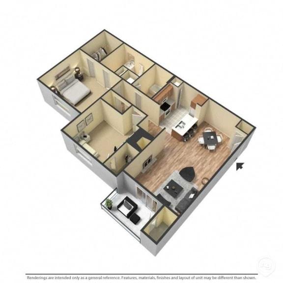 2 Bed, 2 Bath, 1,073 Square Feet 3D Floor Plan