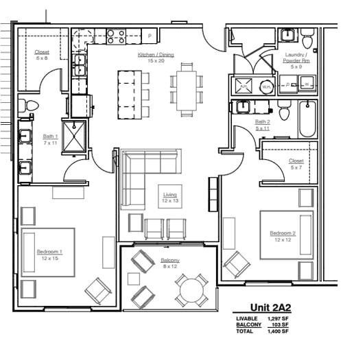 A1 Loft Floor Plan at AVE Union, New Jersey, 07083