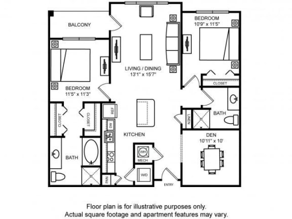 Floor Plan  Floorplan at The Ridgewood by Windsor, 4211 Ridge Top Road, Fairfax, VA 22030