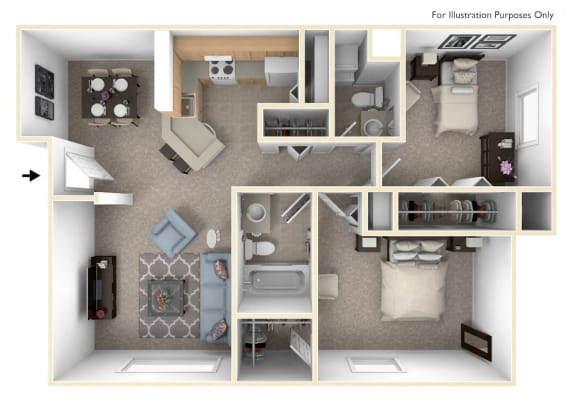 Two Bedroom Madrid Floor Plan at Trappers Cove Apartments