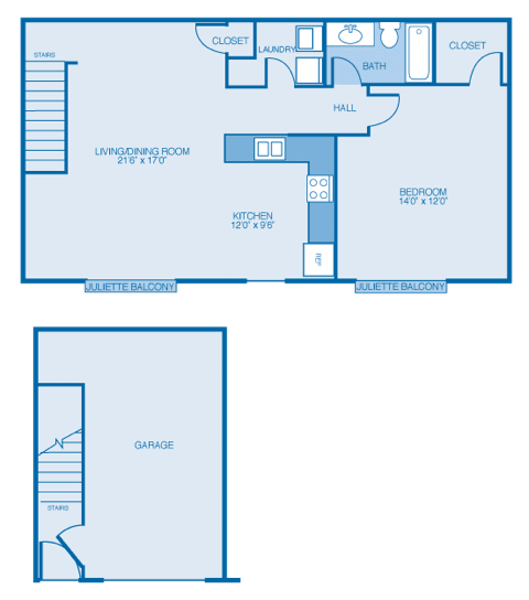 Delaware Floor Plan at Oak Hill Apartments and Townhomes, Rensselaer, New York