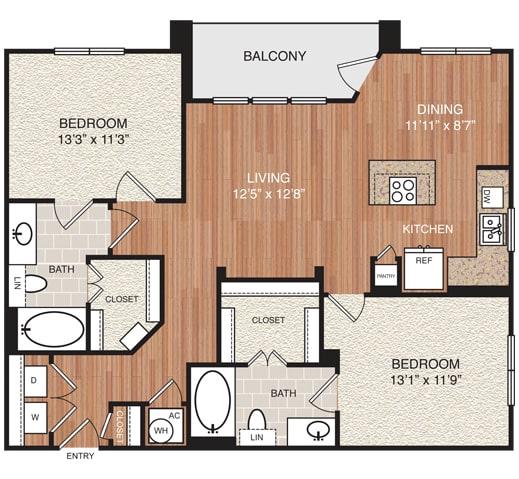 D4 Floor Plan at Berkshire Medical District, Dallas, TX, 75219