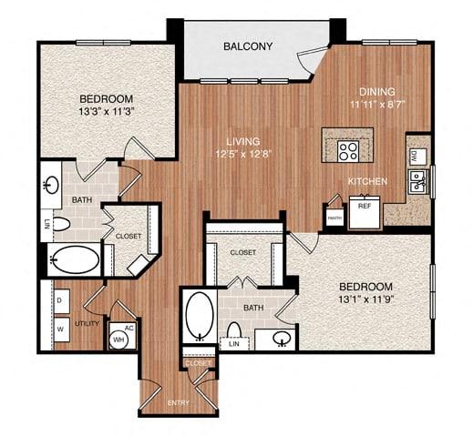 D5 Floor Plan at Berkshire Medical District, Dallas, TX, 75219