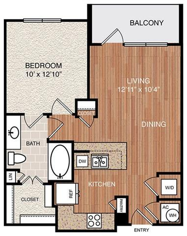 A1 Floor Plan at Berkshire Medical District, Texas, 75219
