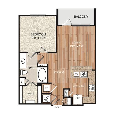 A4 Floor Plan at Berkshire Medical District, Dallas, 75219