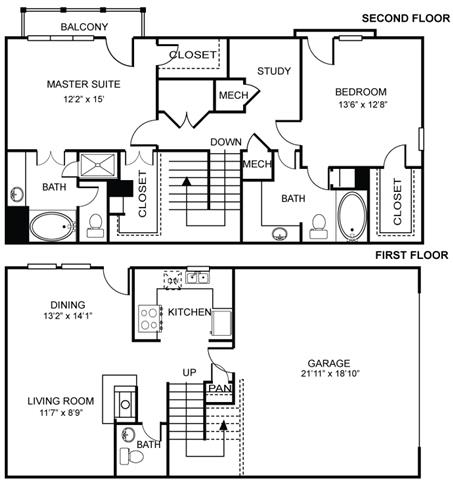 Floor Plan  2x2.5 B1 Floor Plan at Estancia Townhomes, Dallas, TX
