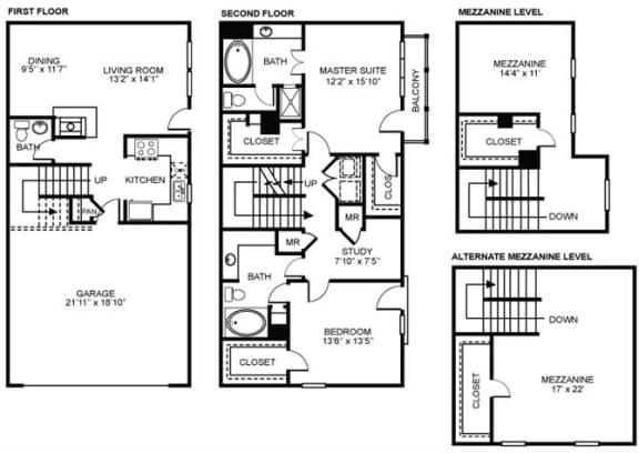 Floor Plan  3x2.5 C1 Floor Plan at Estancia Townhomes, Dallas