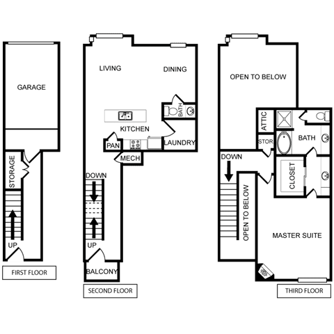 One-Bedroom Floor Plan at Pavilion Townplace, Dallas, Texas