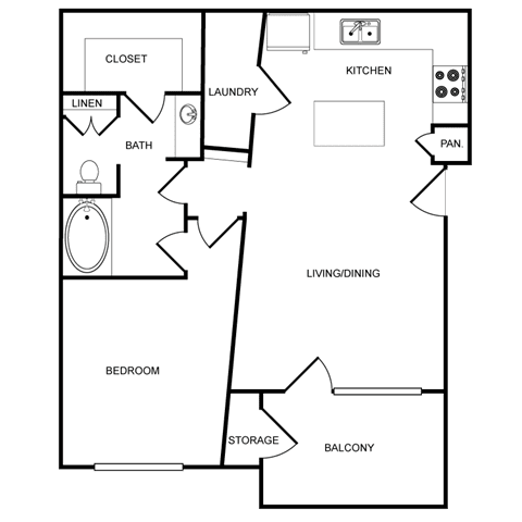 One-Bedroom Floor Plan at Pavilion Townplace, Dallas