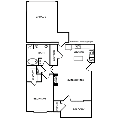 One-Bedroom Floor Plan at Pavilion Townplace, Texas, 75209
