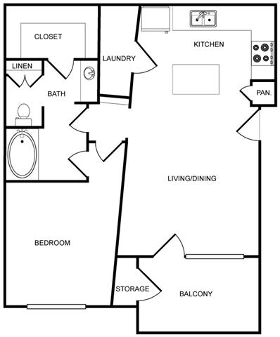 One-Bedroom Floor Plan at Pavilion Townplace, Dallas, TX