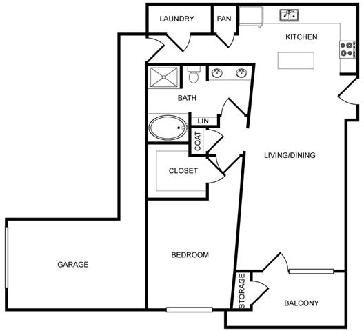 One-Bedroom Floor Plan at Pavilion Townplace, Texas