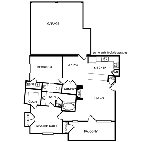 Two-Bedroom, One-Bath Floor Plan at Pavilion Townplace, Dallas, 75209