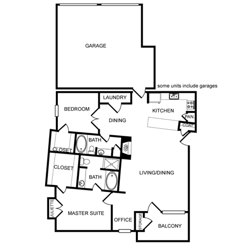 Two-Bedroom Floor Plan at Pavilion Townplace, Dallas, Texas