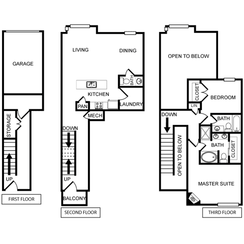 Two-Bedroom Floor Plan at Pavilion Townplace, Texas