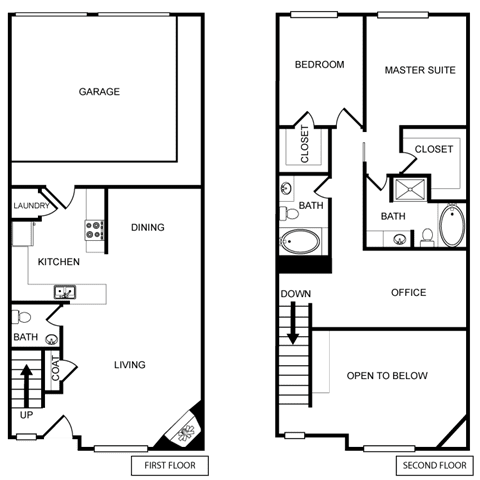 Two-Bedroom Floor Plan at Pavilion Townplace, Texas, 75209