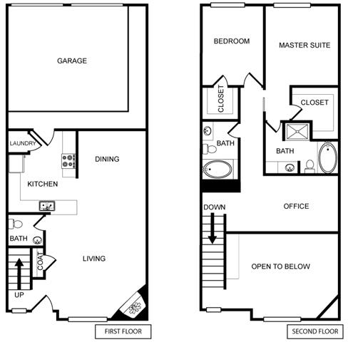 Two-Bedroom Floor Plan at Pavilion Townplace, Dallas, TX